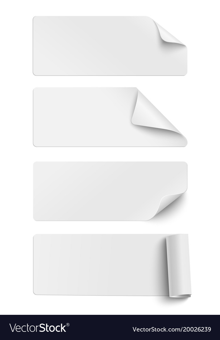 Set of oblong white sticky paper pieces