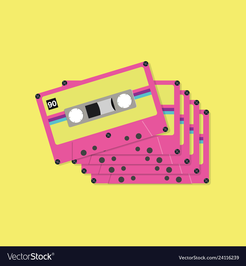 Tape cassette tapes in flat style
