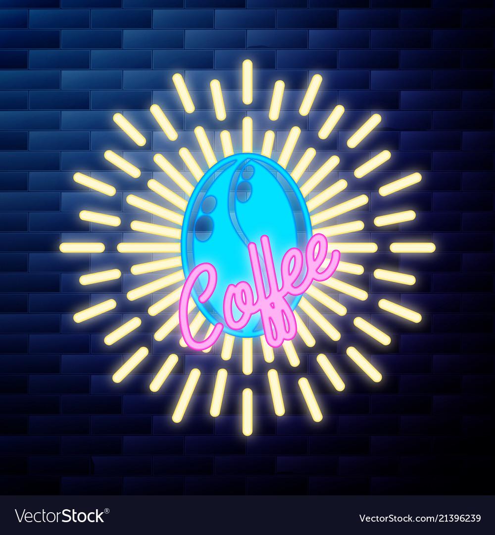Vintage coffee emblem glowing neon sign