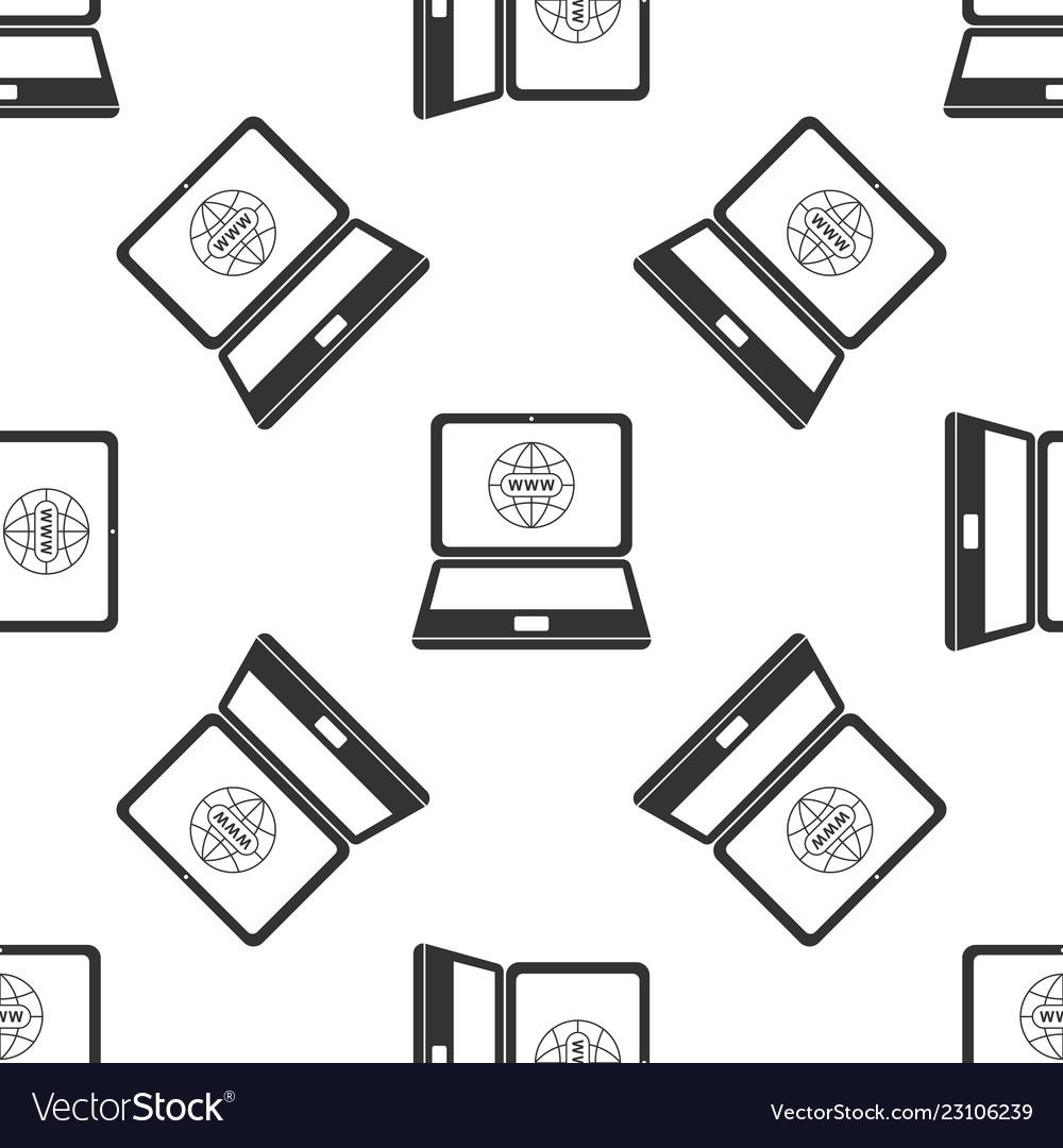 Website on laptop screen icon seamless pattern