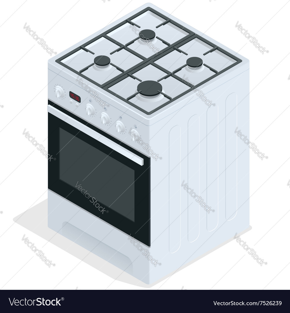 White gas stove Free standing cooker 3d