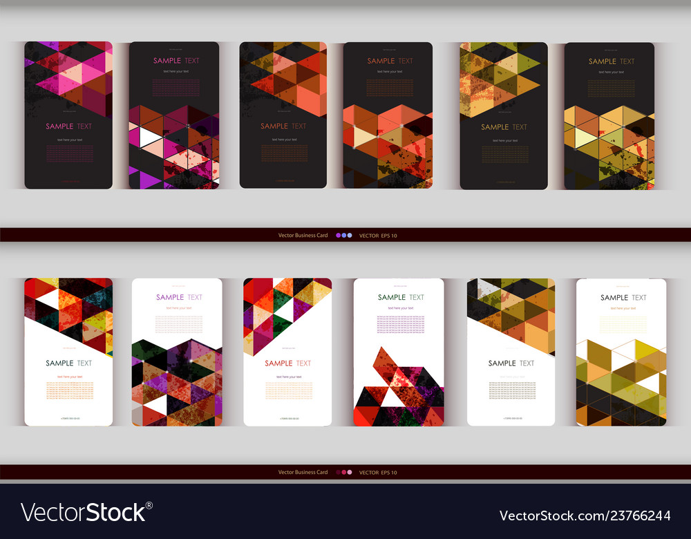 Abstract geometric business card set