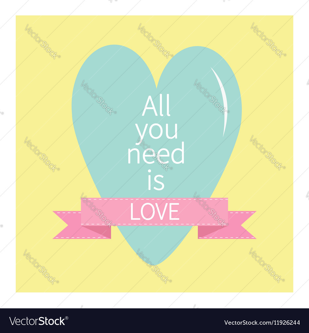 All You Need is Love Lettering with heart and pink