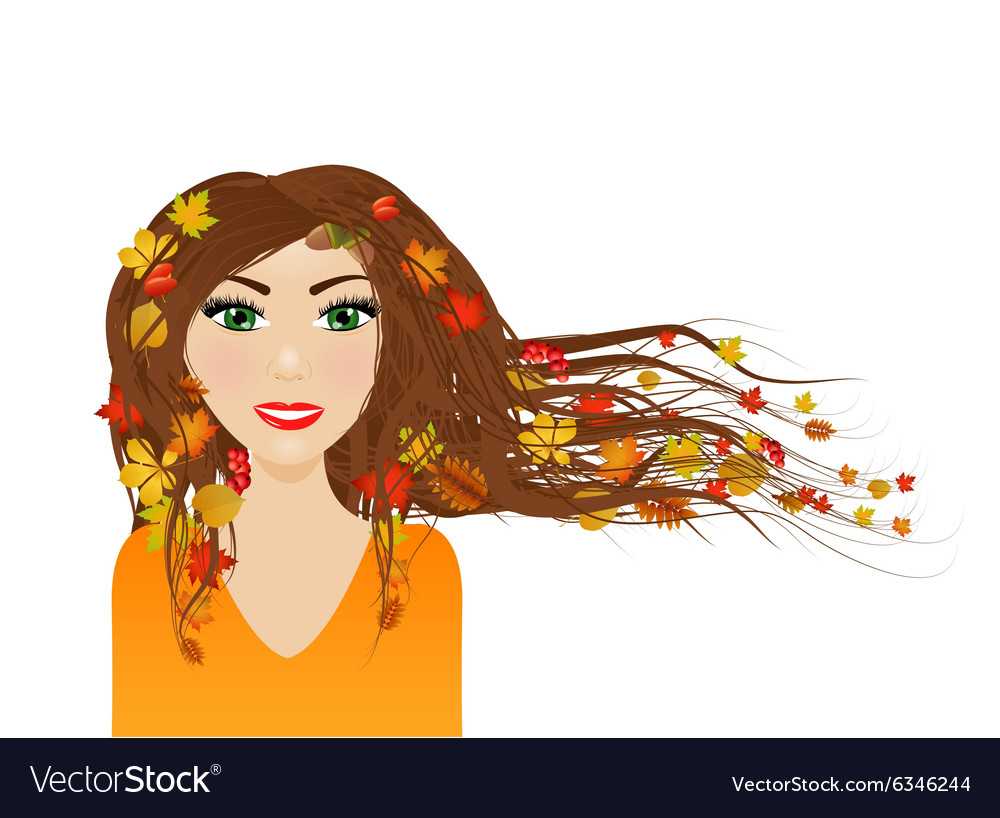 Autumn female character vector image