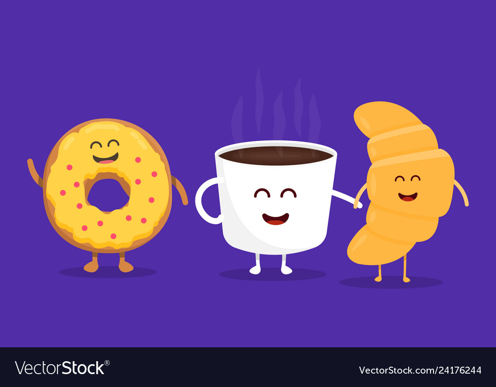 Best friends coffee croissant and donut character