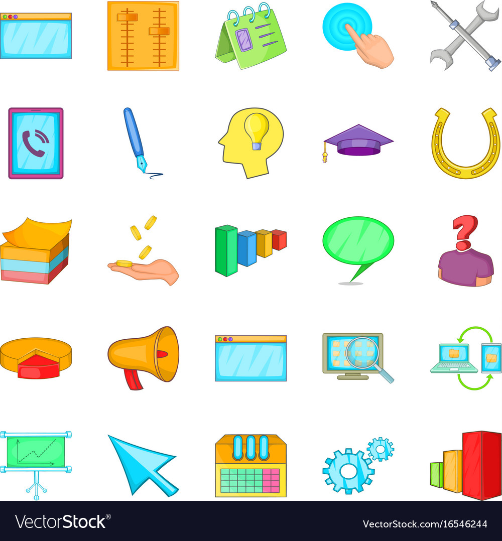 Business group icons set cartoon style