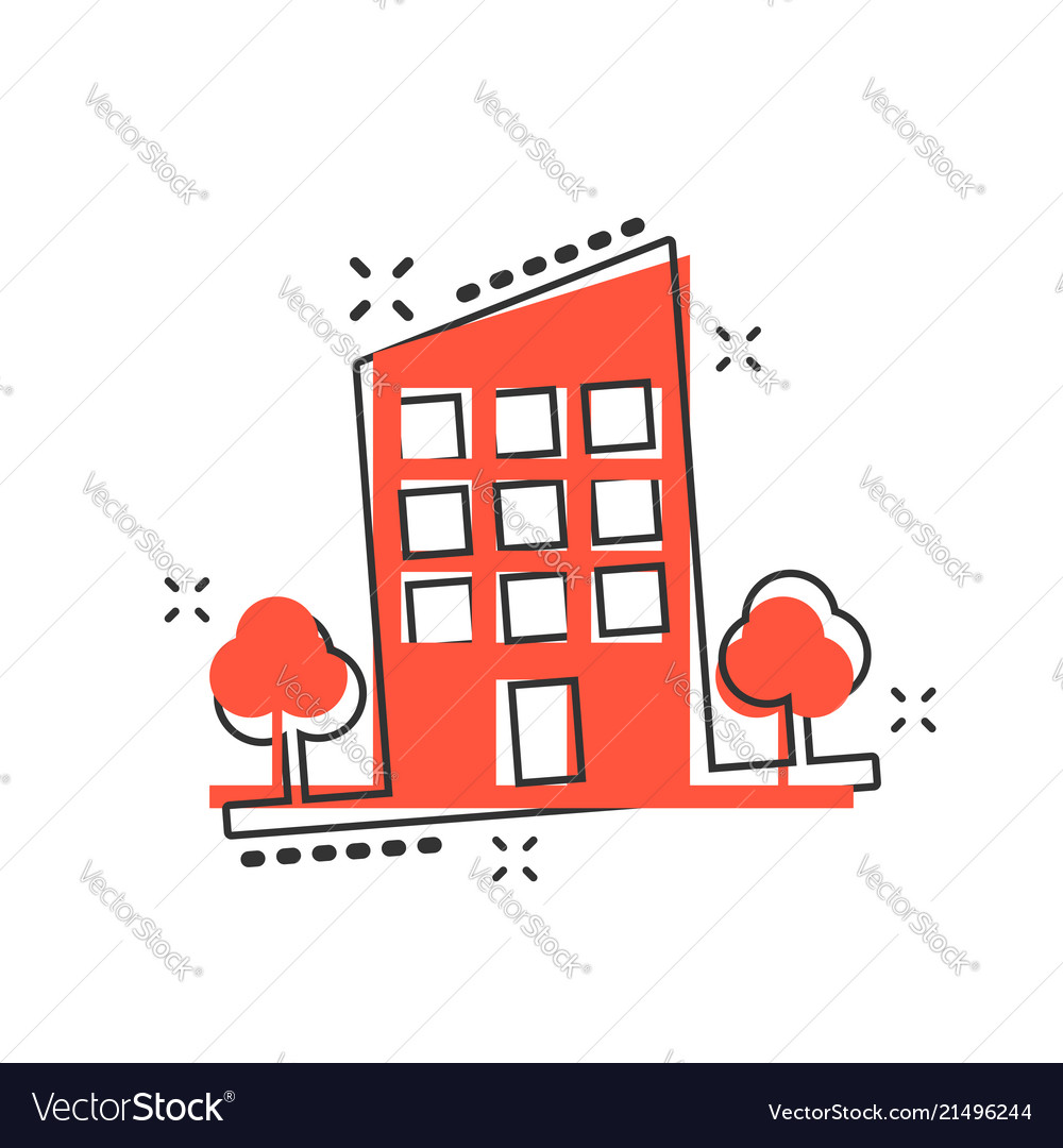 Cartoon building with trees in comic style house