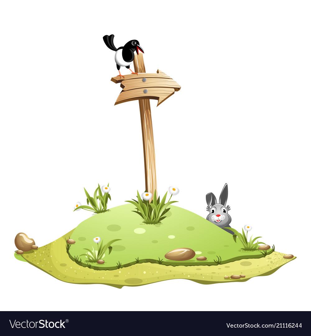 Cartoon old wooden arrow on a green flower hill