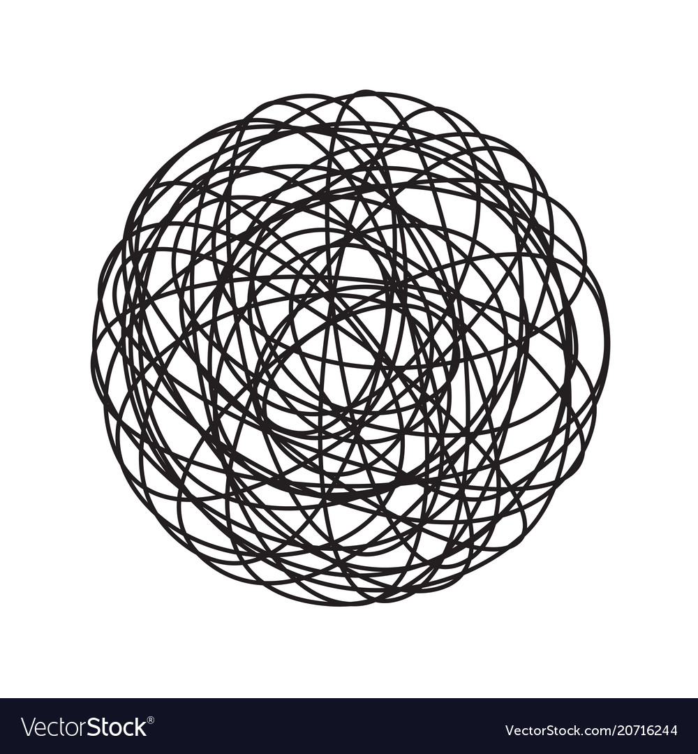 chaos tangle circle doodle line icon royalty free vector