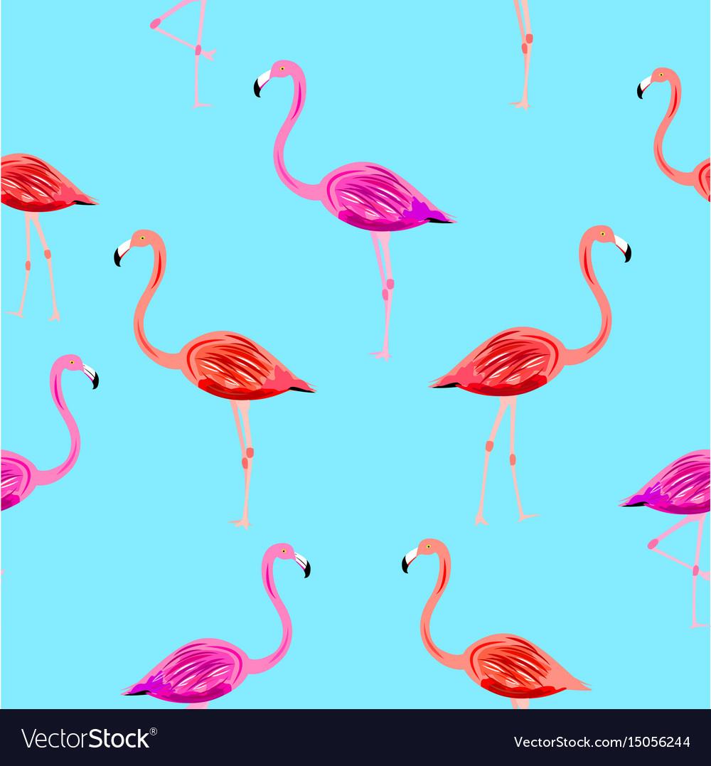 Flamingo seamless pattern on mint blue background