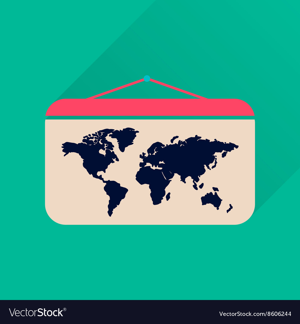 Flat icon with long shadow world map royalty free vector flat icon with long shadow world map vector image gumiabroncs Images