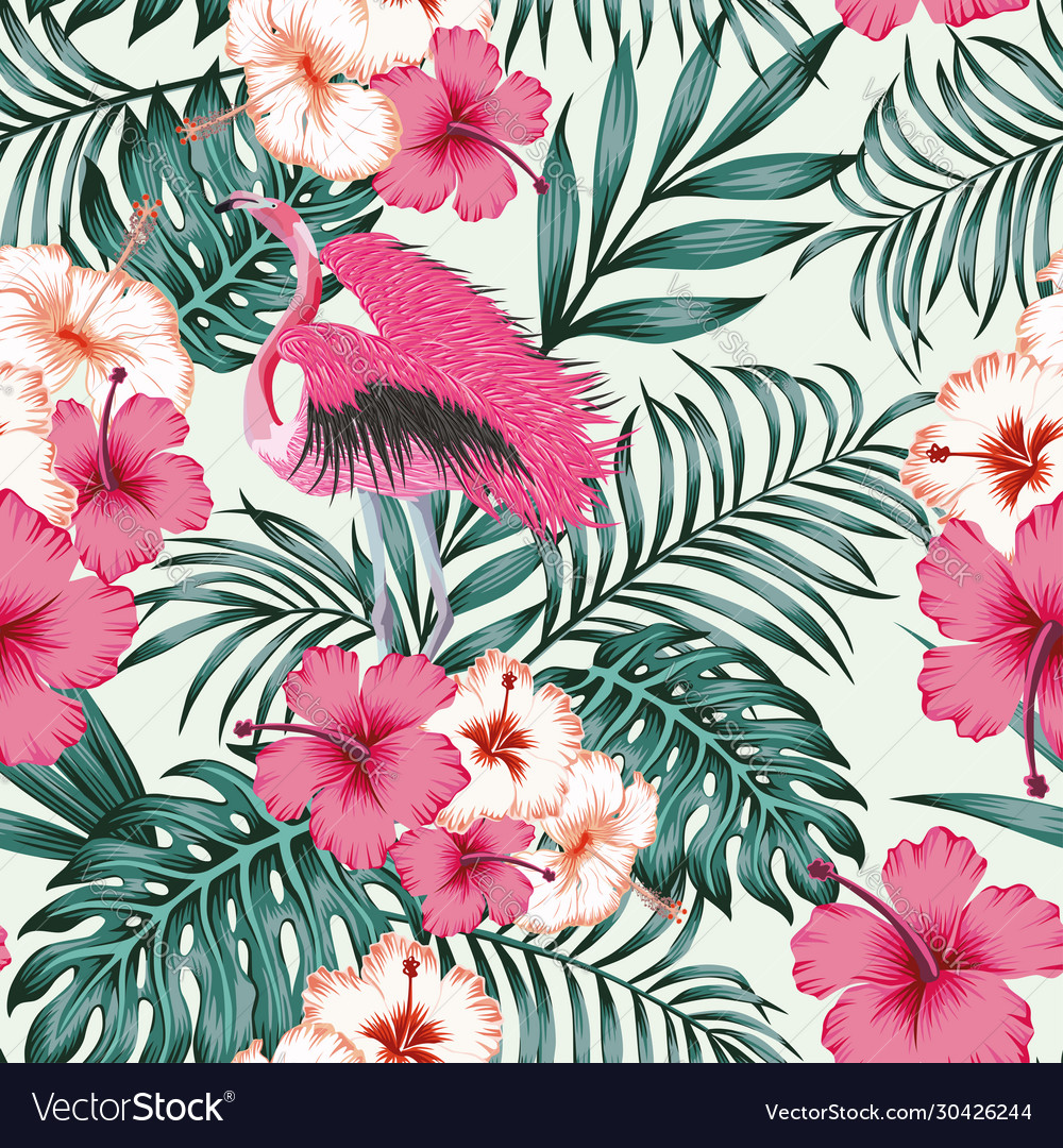Flowers leaves flamingo seamless tropical pattern