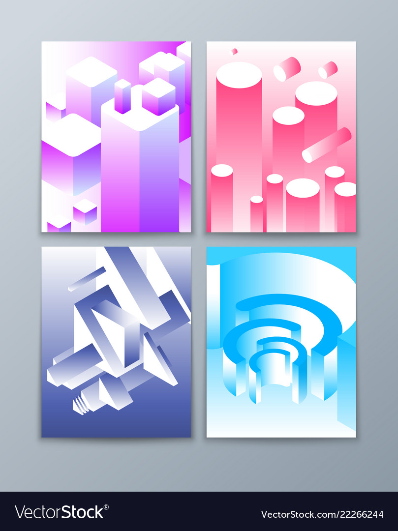 Isometric abstract shapes 3d futuristic geometric