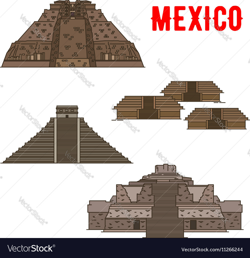 Mexican cultural ancient landmarks icons