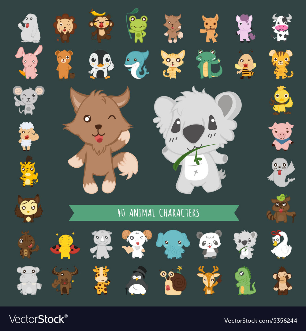 Set of 40 Animal costume characters eps10