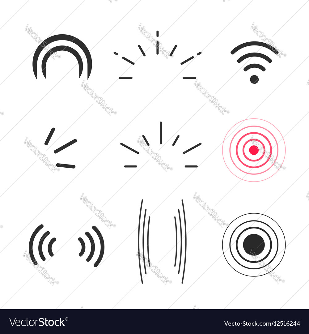 Signal icons radio signals waves and light