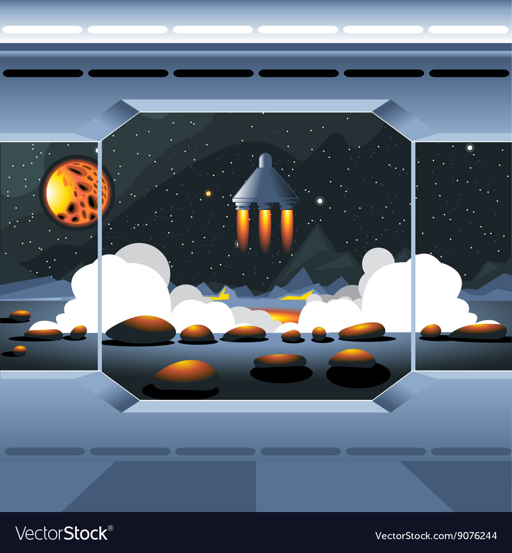 spacecraft interior view and window to space vector image
