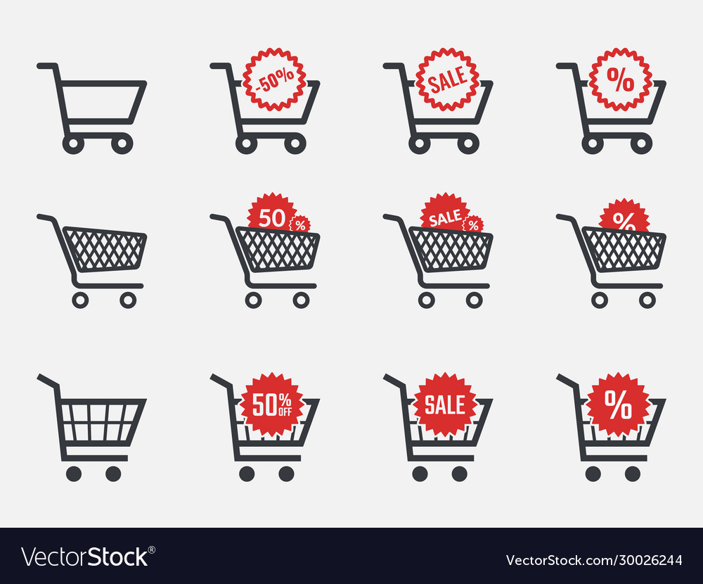 Trolley icons sale and discount icon set