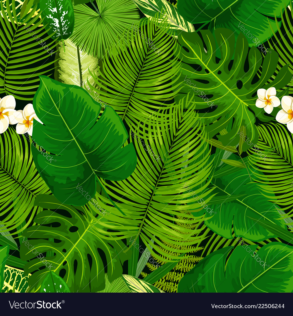 Tropical exotic plants flowers seamless pattern