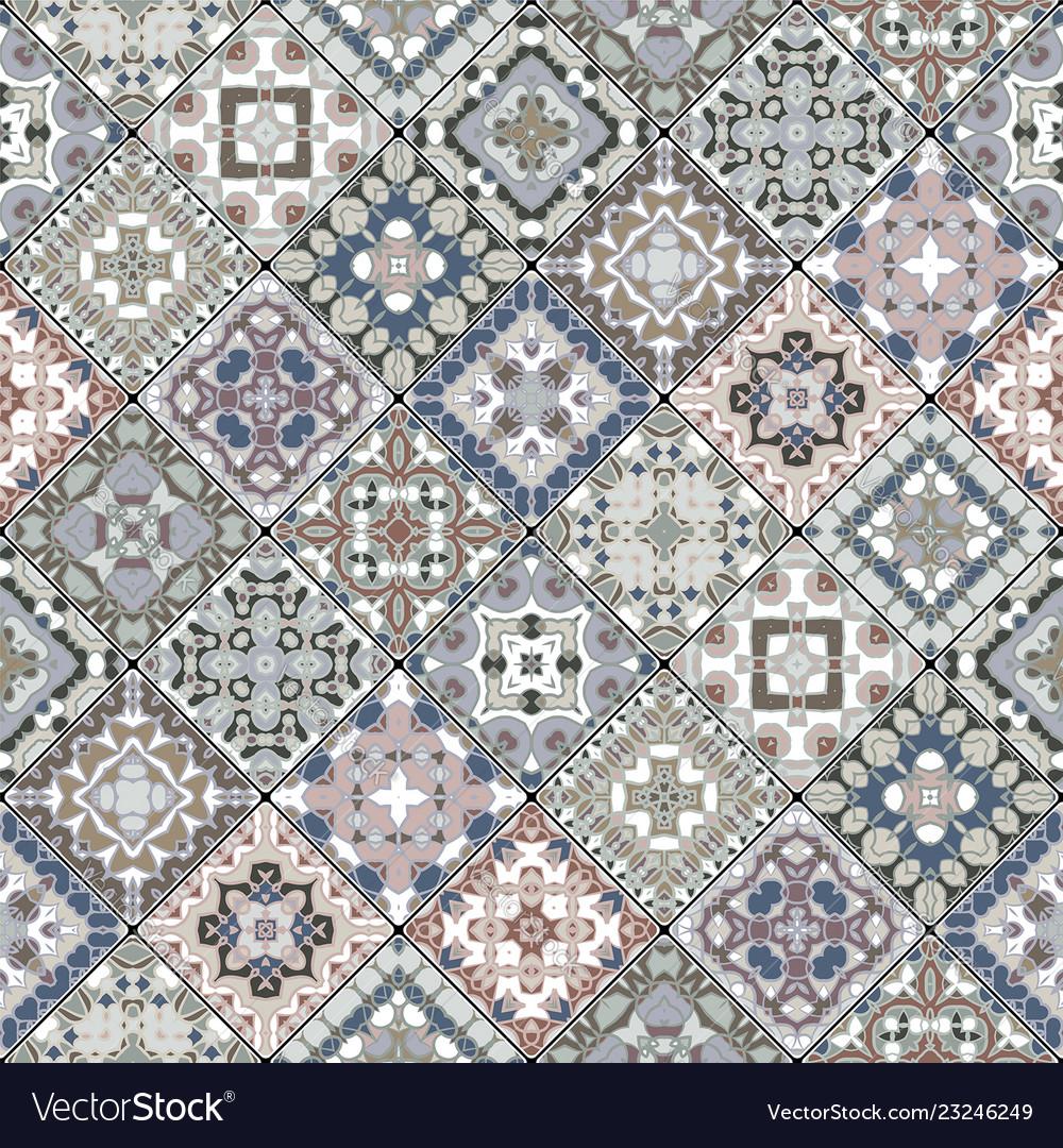 Ceramic Tiles In Retro Colors Vector Image