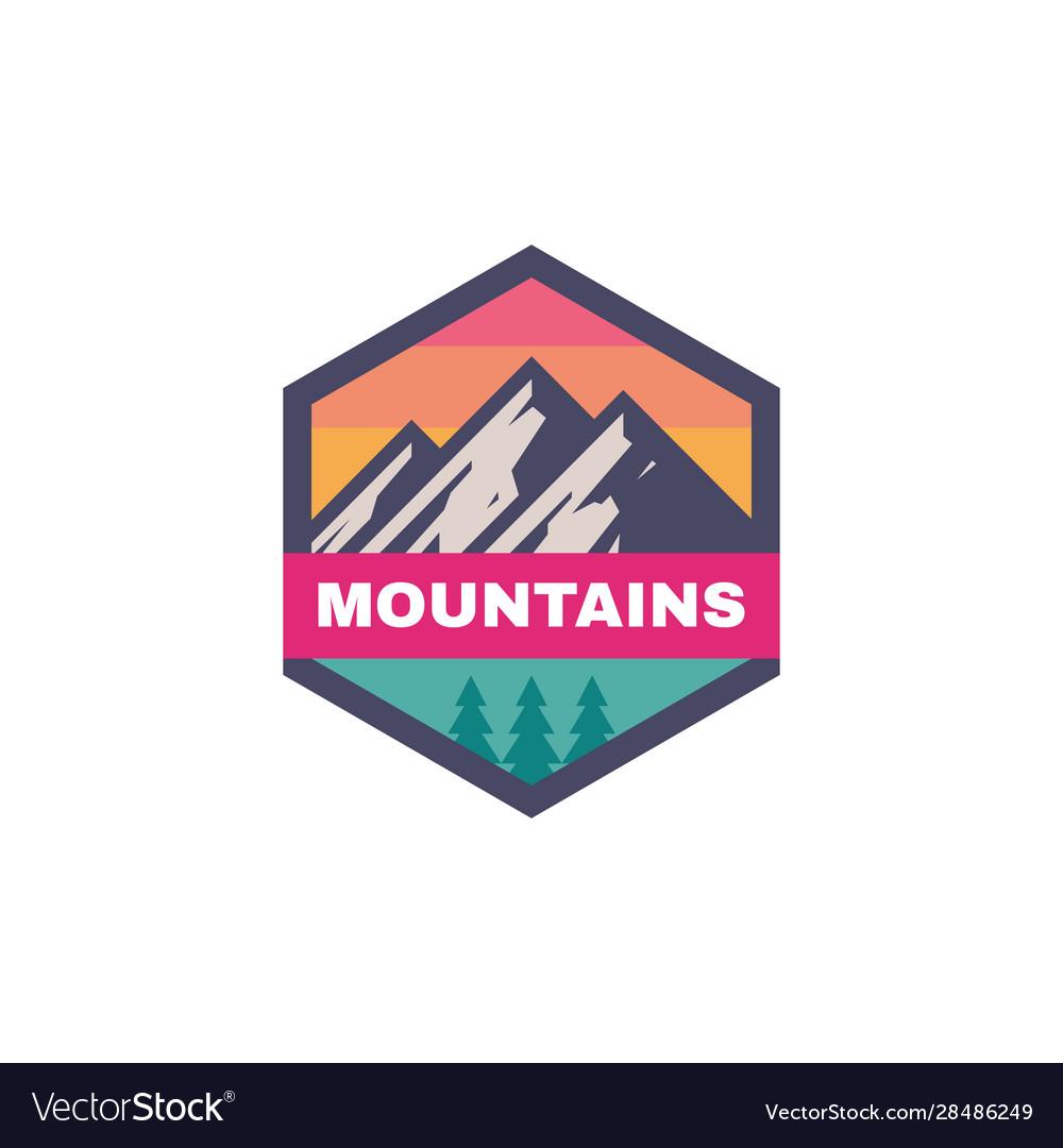 Adventure outdoors - concept badge mountain