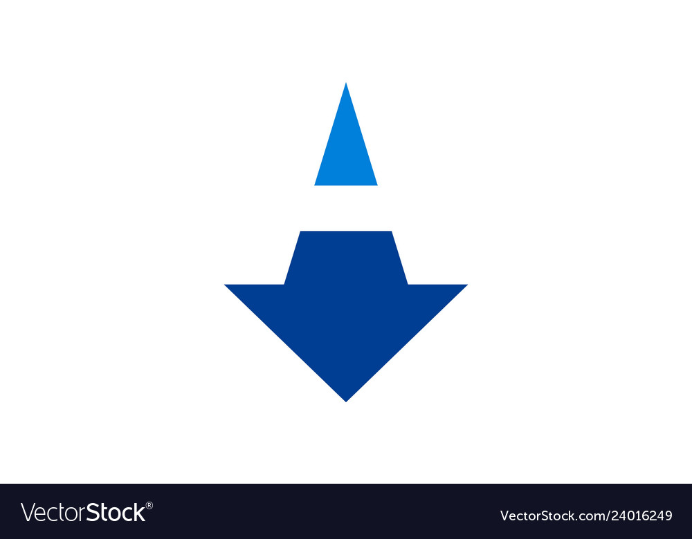 Down arrow abstract letter a logo icon concept