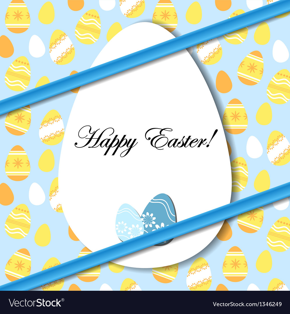 Easter card with egg and blue bow