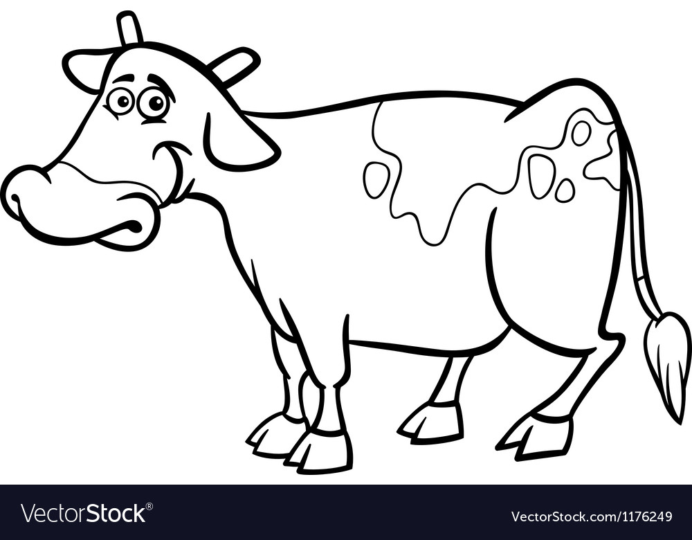 Farm cow cartoon for coloring book Royalty Free Vector Image