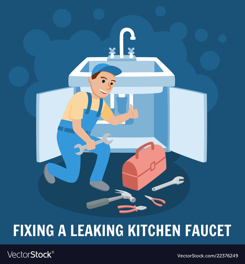 Fixing leaking kitchen faucet Royalty Free Vector Image