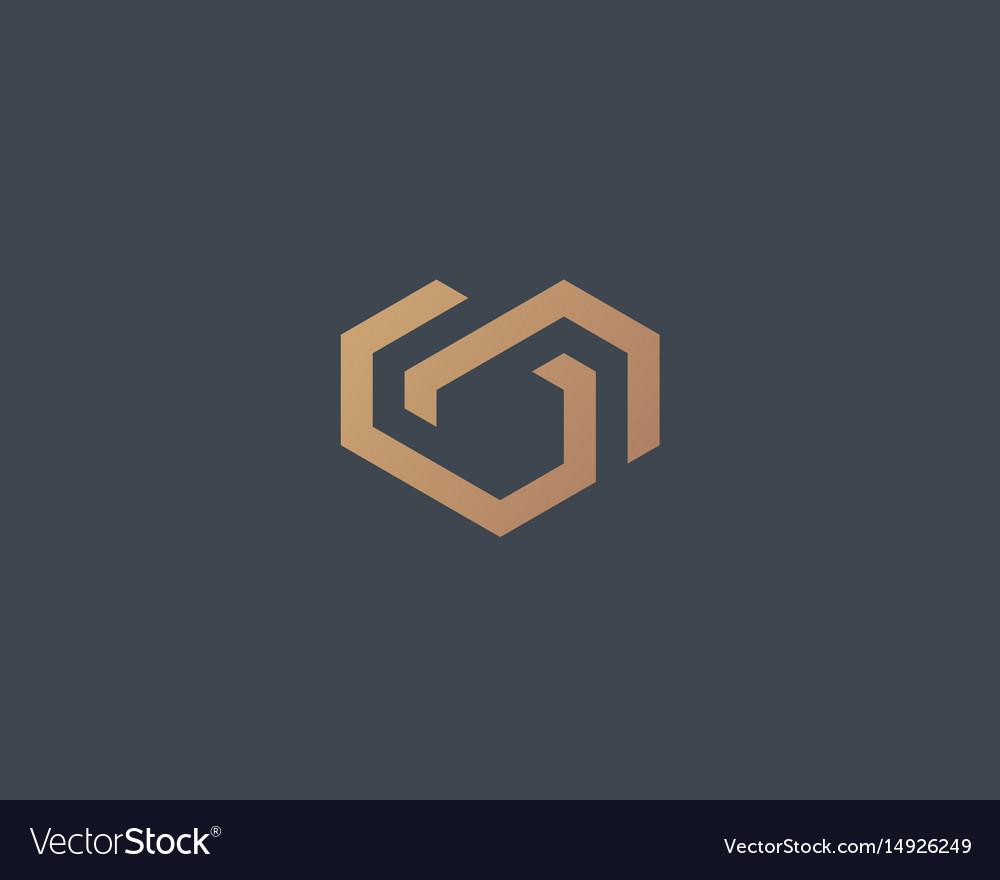Geometric heart logotype love home logo
