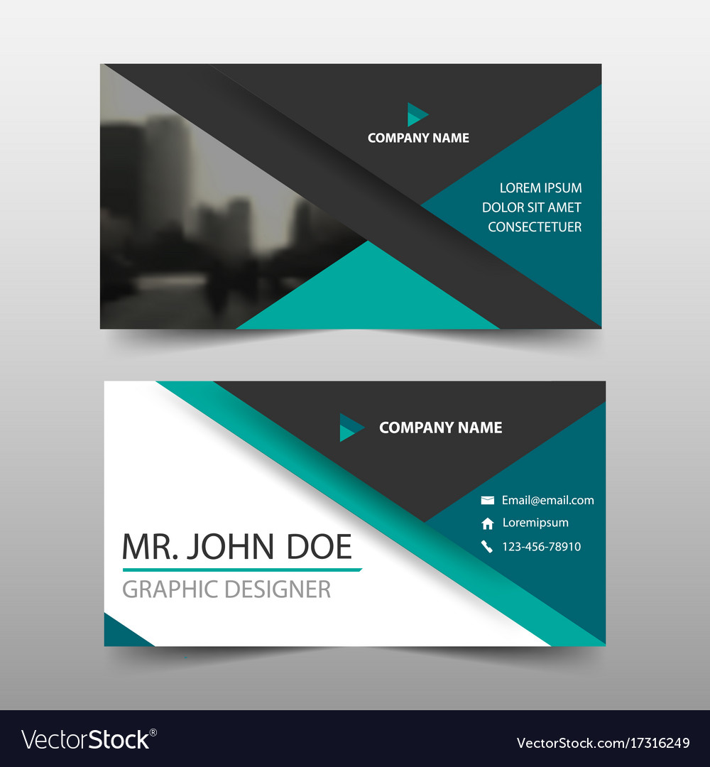 Green triangle corporate business card name card vector image reheart Images