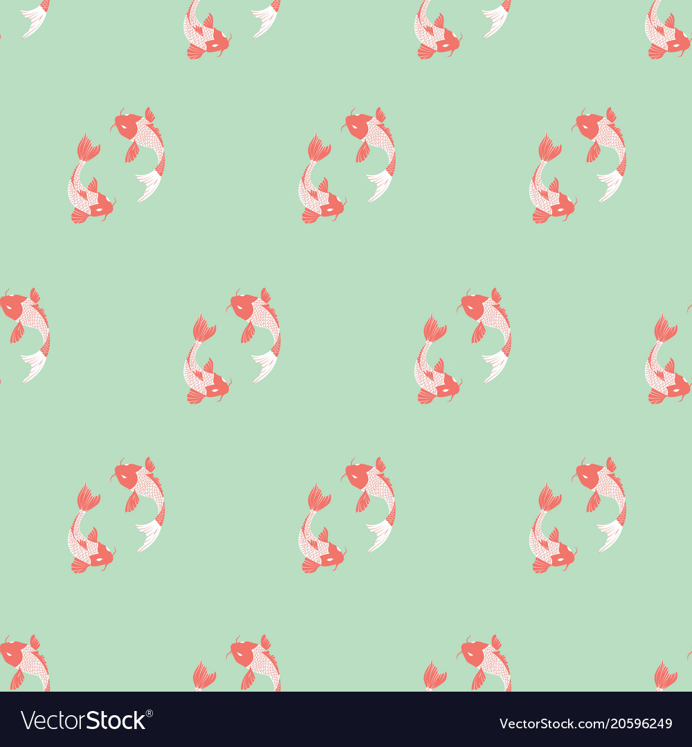 Koi fish seamless background on mint background vector image