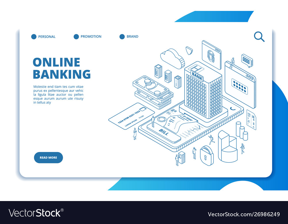 Online banking isometric landing page money