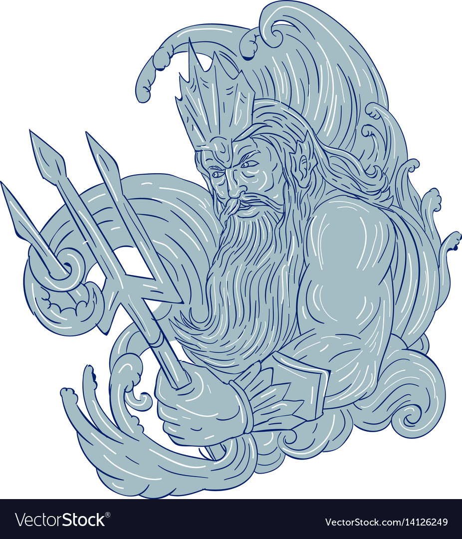 Poseidon trident waves drawing vector image