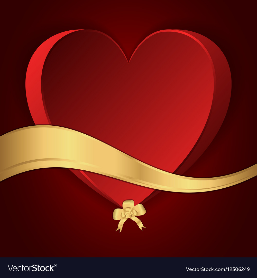 Red heart with a gold bow and gold strip