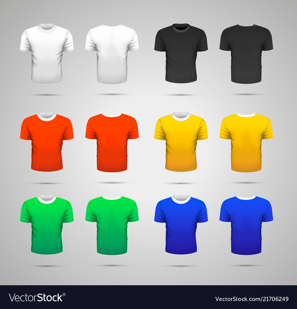Set of realistic sport t-shirts in white black
