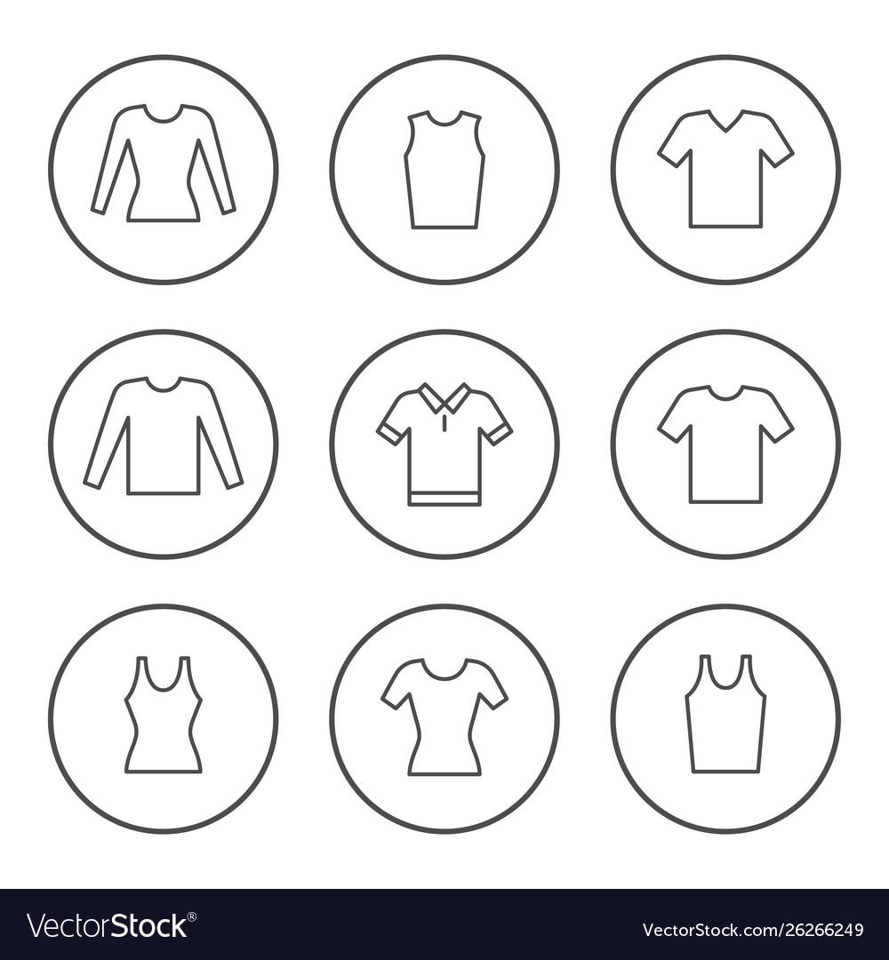 Set round line icons t-shirt