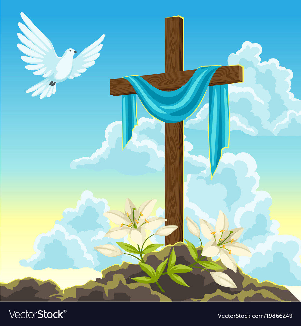 Silhouette of wooden cross with shroud dove and vector image