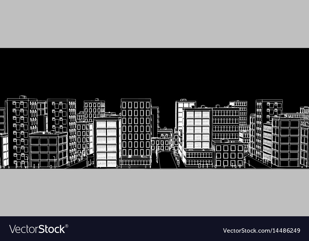 Stencil of a white city on a black background
