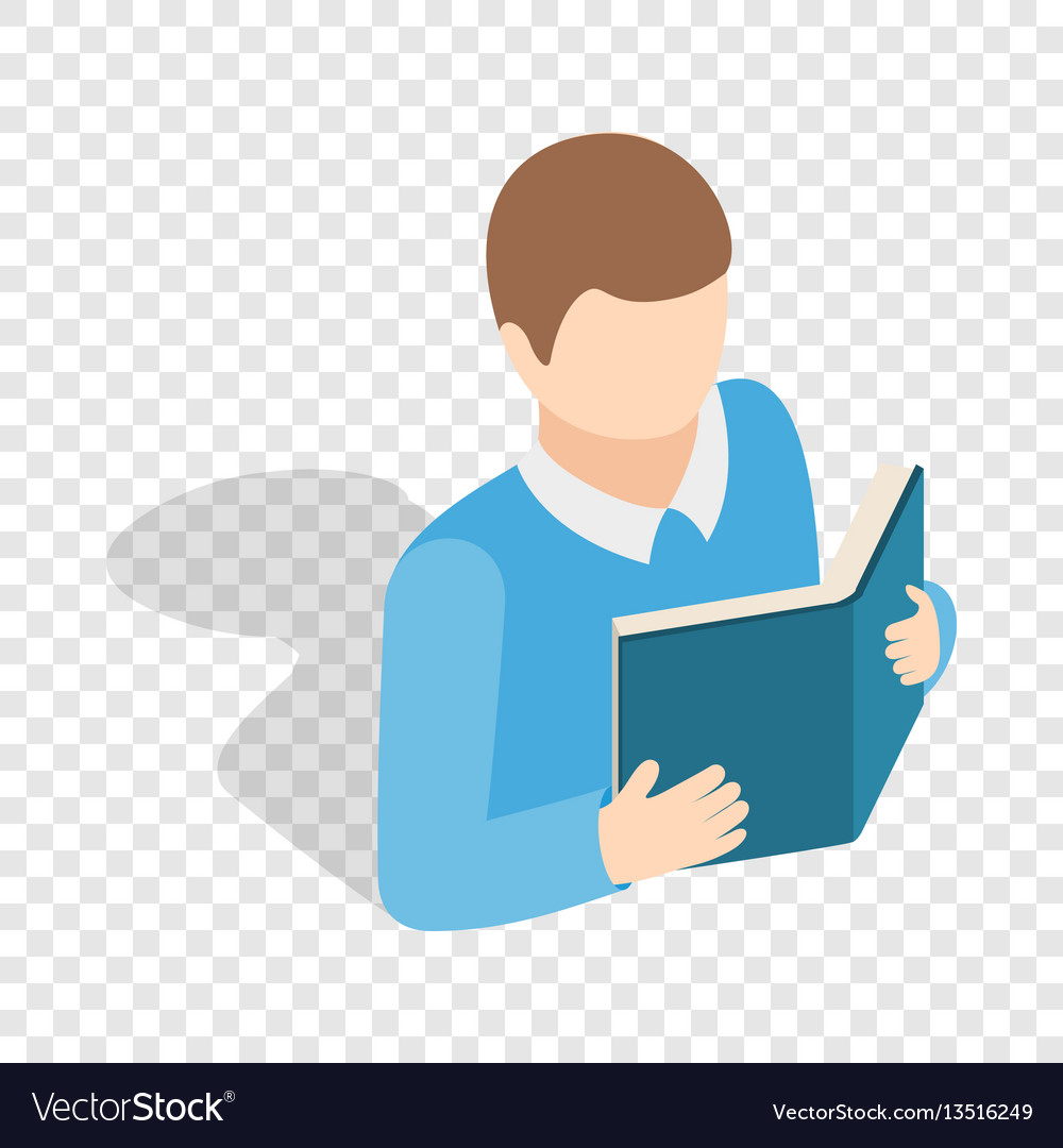 Student reading a book isometric icon