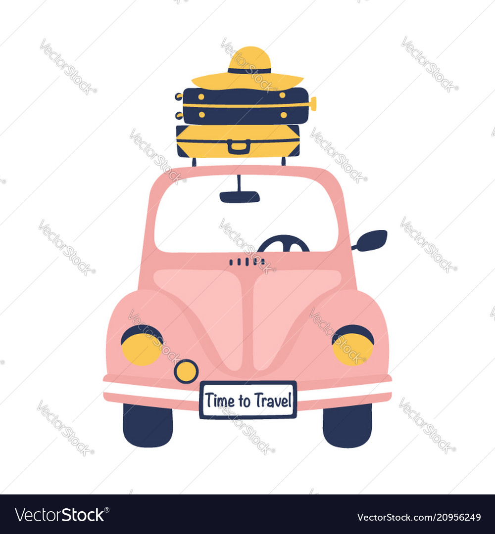 Summer travel with cute retro car and suitcases