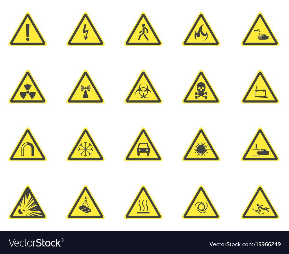 Yellow warning hazard signs set vector image