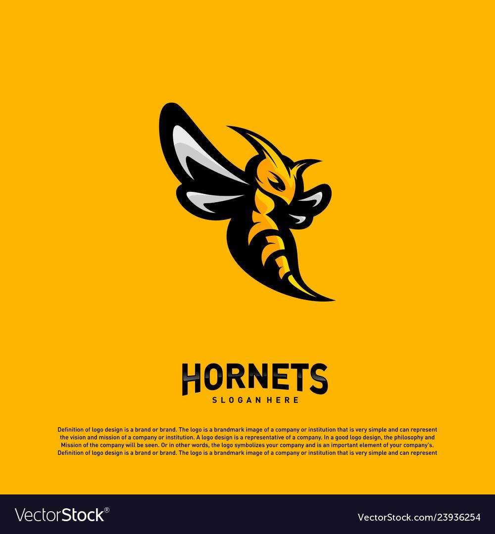 Bee logo design hornets logo template icon symbol