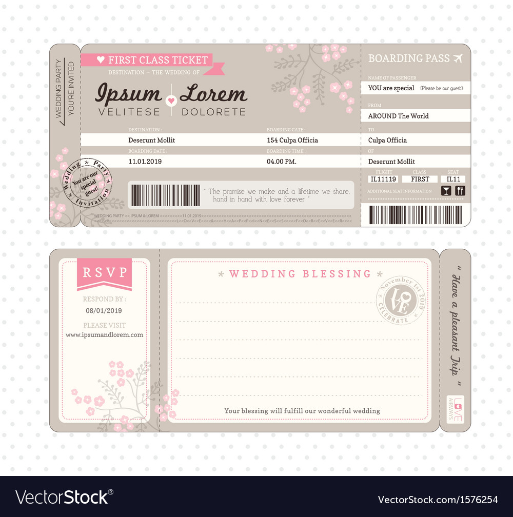 Boarding pass wedding invitation template vector image stopboris Gallery
