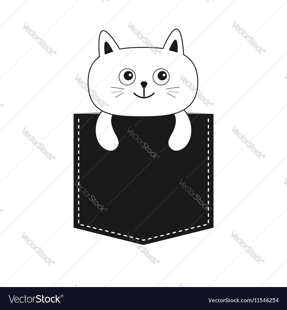 Image of: Download Vectorstock Cat In The Pocket Cute Cartoon Kitten Contour Vector Image