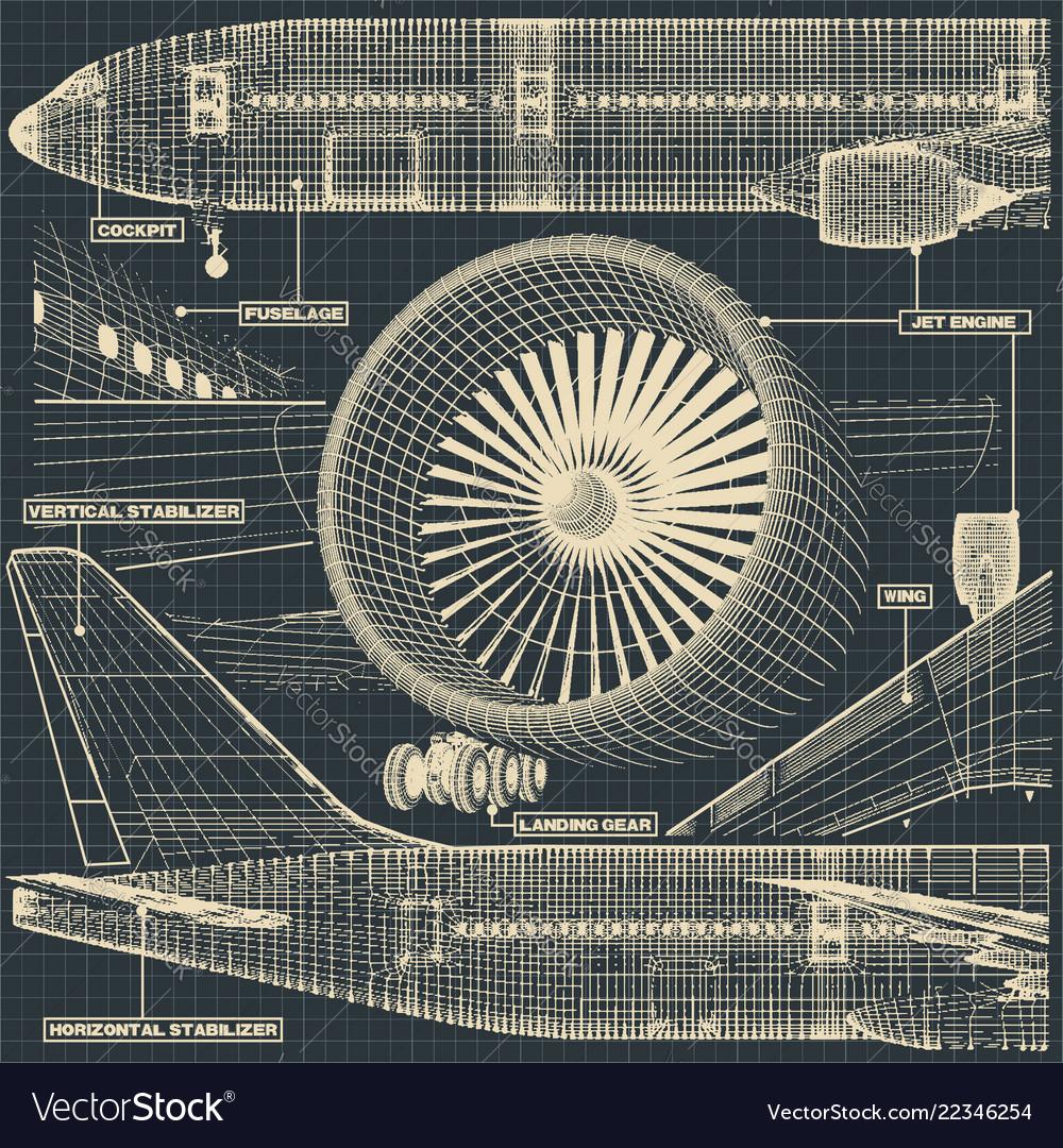 Civil aircraft drawing fragment