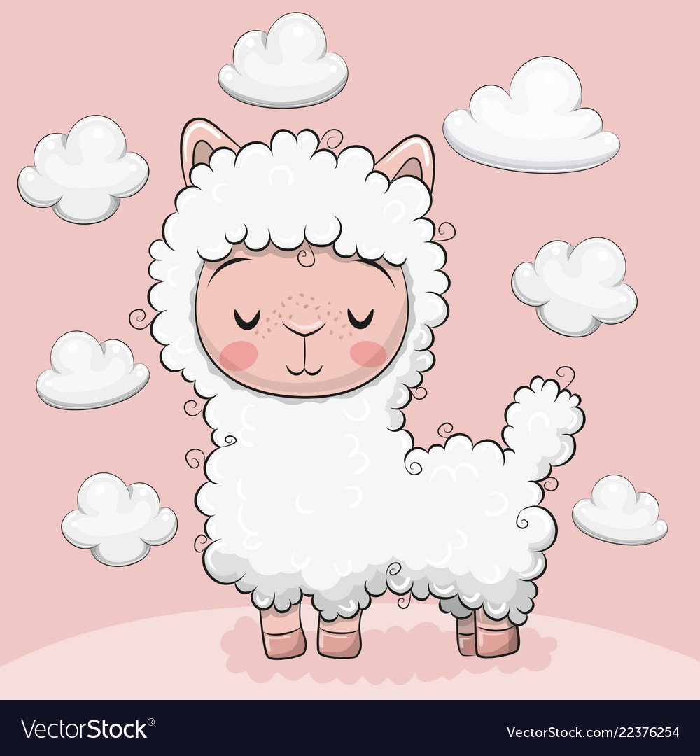 Cute alpaca with clouds on a pink background
