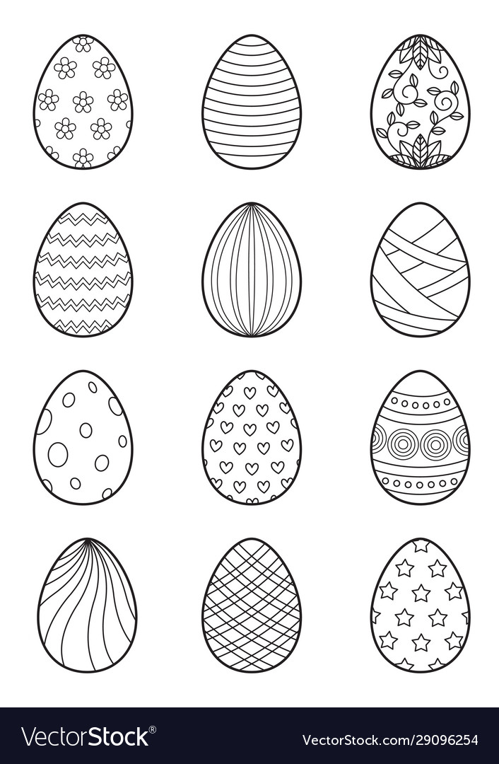 - Easter Eggs Set For Coloring Book Page Doodle Vector Image
