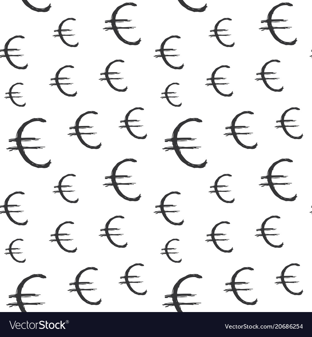 Euro sign icon brush lettering seamless pattern