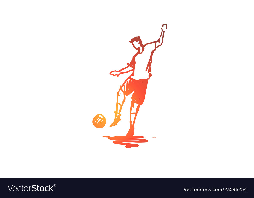 Forward football player action goal concept
